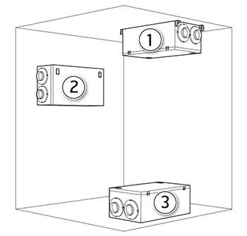 Rekuperatoriaus C2 montavimo būdai